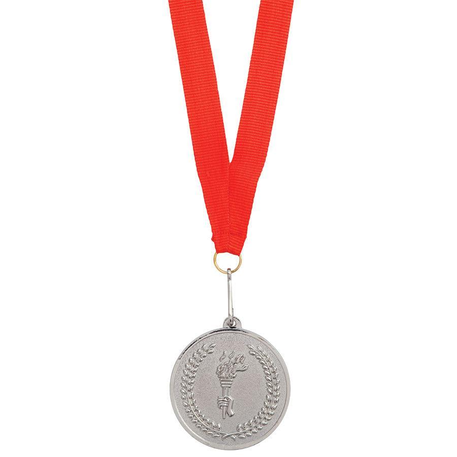 """Медаль наградная на ленте """"Серебро""""; 48 см., D=5см.; текстиль, металл"""