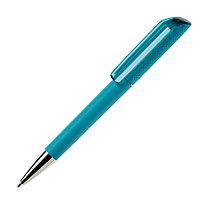 Ручка шариковая FLOW, покрытие soft touch, аквамарин, пластик