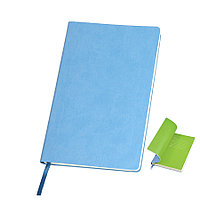"""Бизнес-блокнот """"Funky"""", 130*210 мм, голубой,  зеленый форзац, мягкая обложка, блок-линейка, фото 1"""