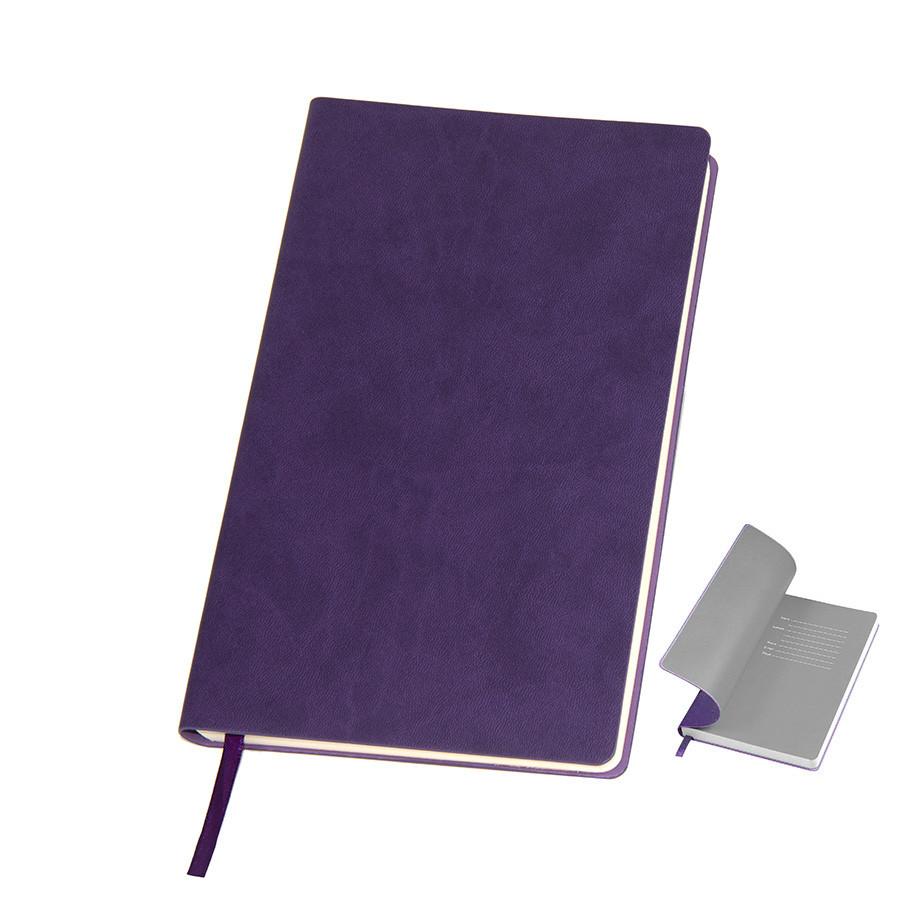 """Бизнес-блокнот """"Funky"""" фиолетовый с  серым форзацем, мягкая обложка,  линейка"""
