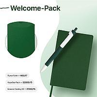 Набор подарочный WELCOME-PACK: бизнес-блокнот, ручка, коробка, зеленый