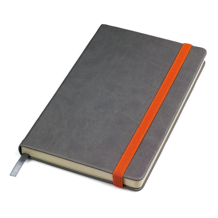 """Бизнес-блокнот """"Fancy"""", 130*210 мм, серый/оранжевый, твердая обложка,  резинка 10 мм, блок-линейка"""