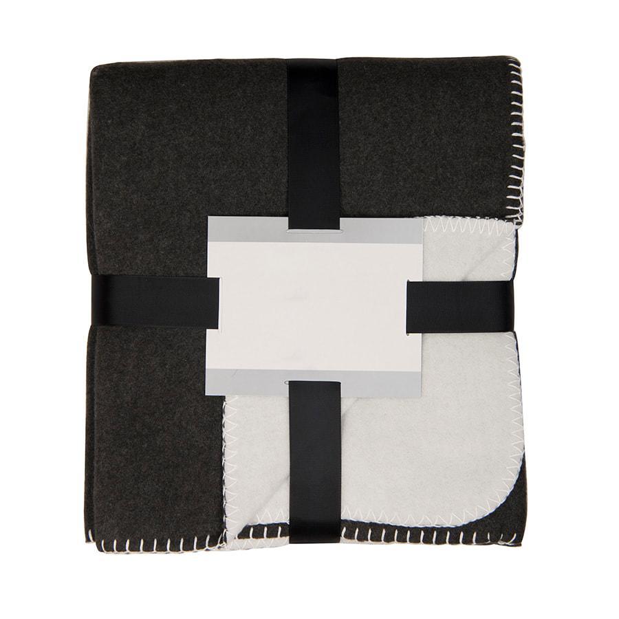 """Плед """"Твин"""" двусторонний, черный/белый,  130х150 см; плотность 350 г/м2"""