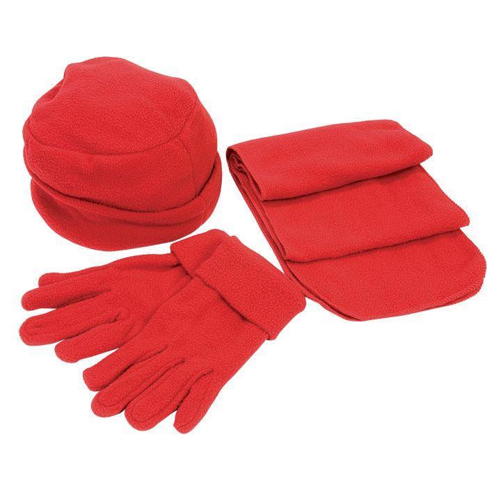 """Флисовый набор """"Метель"""" шапка, шарф, перчатки, красный, флис, 190 гр/м4"""