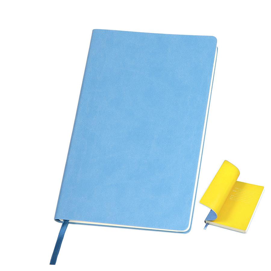 """Бизнес-блокнот """"Funky"""", 130*210 мм, голубой, желтый форзац, мягкая обложка, блок-линейка"""