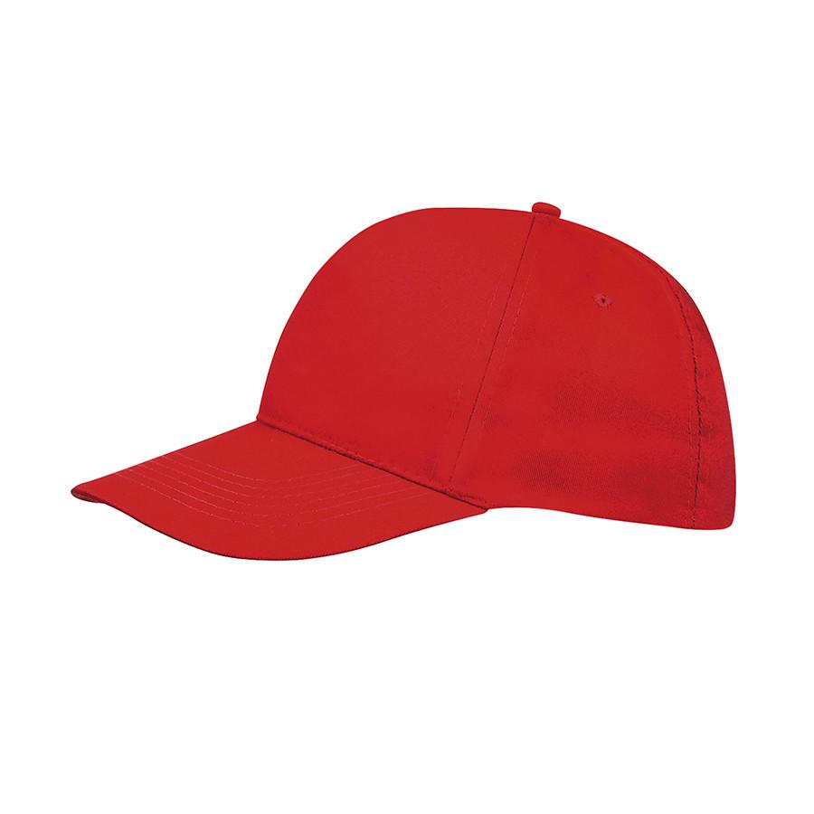 """Бейсболка """"SUNNY"""", 5 клиньев, застежка на липучке,  красный, 100% хлопок, плотность 180 г/м2"""