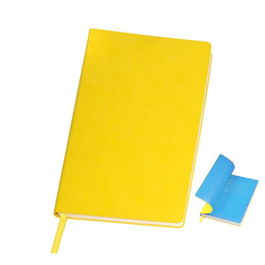 """Бизнес-блокнот """"Funky"""" желтый с голубым  форзацем, мягкая обложка,  линейка"""