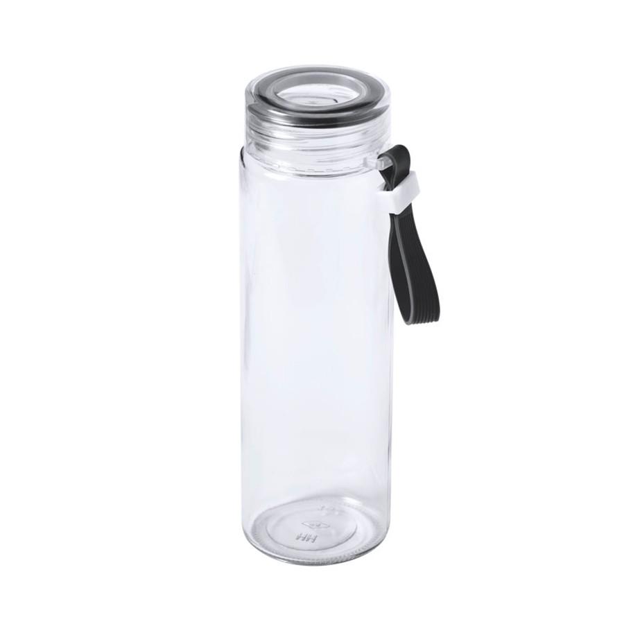 Бутылка для воды HELUX, 420 мл, стекло, прозрачный, черный