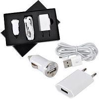 """Набор """"USB 3 в 1"""": зарядное устройство от сети,от автомобильного прикуривателя и провод-адаптер для iPhone и"""