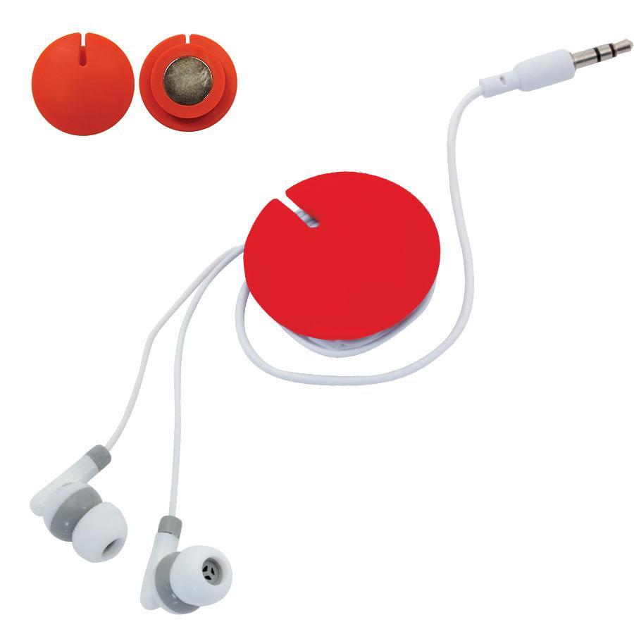 Устройство для скручивания наушников с креплением на магните; красное; 1,2 см., D=4,2 см.; пластик