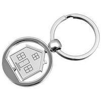 "Брелок ""Дом""; серебристый; 3,5х7,4х0,2 см; металл"