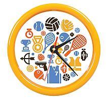 """Часы настенные """"PRINT"""" разборные ;  желтый, D24,5 см; пластик"""