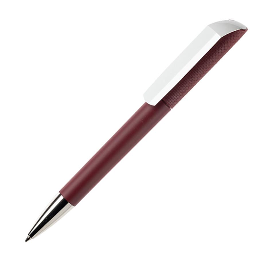 Ручка шариковая FLOW, покрытие soft touch, бордовый, пластик