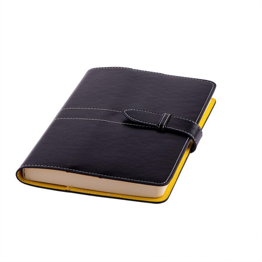 Ежедневник-портфолио недатированный Holder, А5, черный/желтый, кремовый блок, без обреза