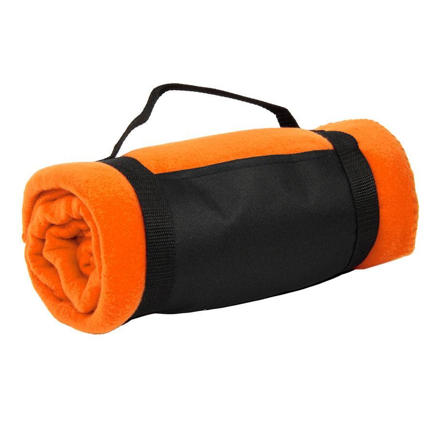 """Плед """"Color""""; оранжевый; 130х150 см; флис 220 гр/м2; шелкография, вышивка"""
