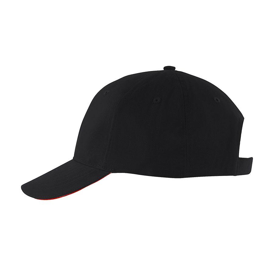 """Бейсболка мужская """"SOLAR"""", 6 клиньев, застежка на липучке, черный/красный, 100% хлопок, 180 г/м2"""