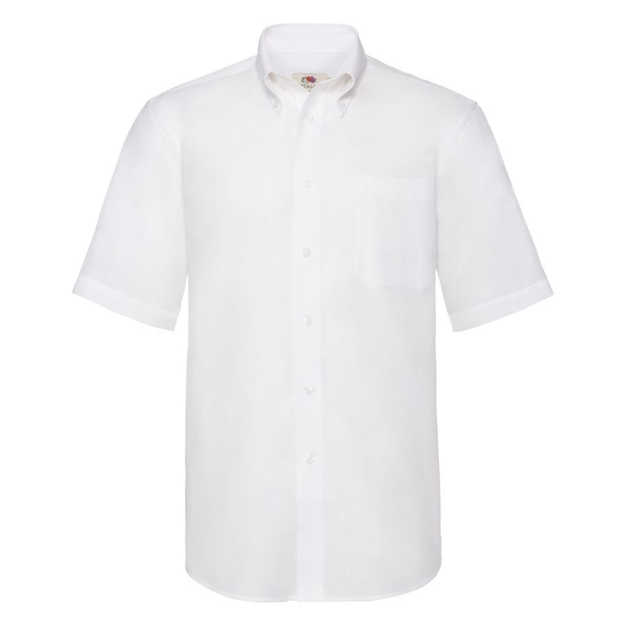 """Рубашка """"Short Sleeve Oxford Shirt"""", белый_S, 70% х/б, 30% п/э, 130 г/м2"""