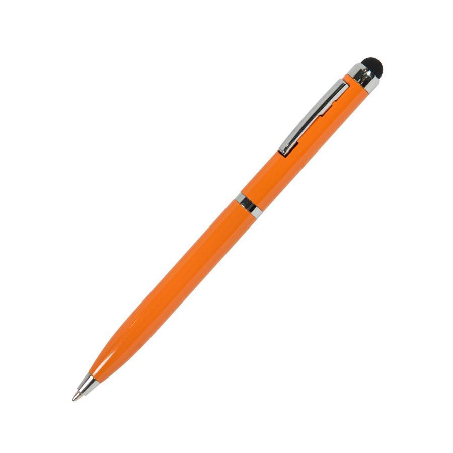 CLICKER TOUCH, ручка шариковая со стилусом для сенсорных экранов, оранжевый/хром, металл