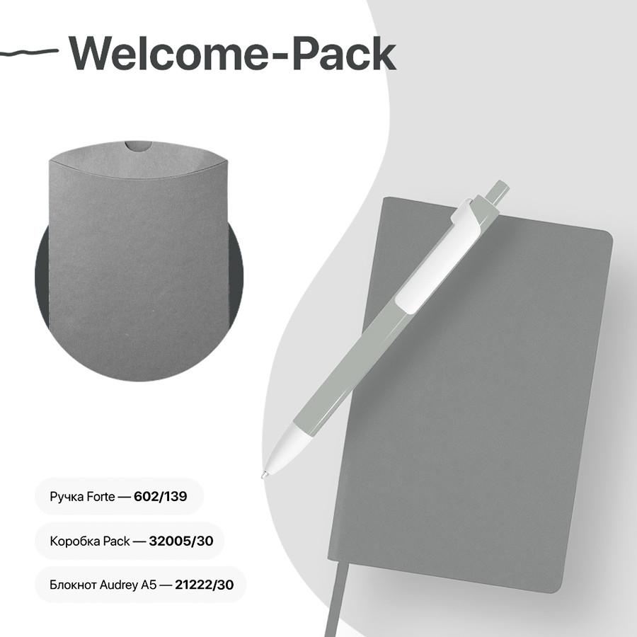 Набор подарочный WELCOME-PACK: бизнес-блокнот, ручка, коробка, серый