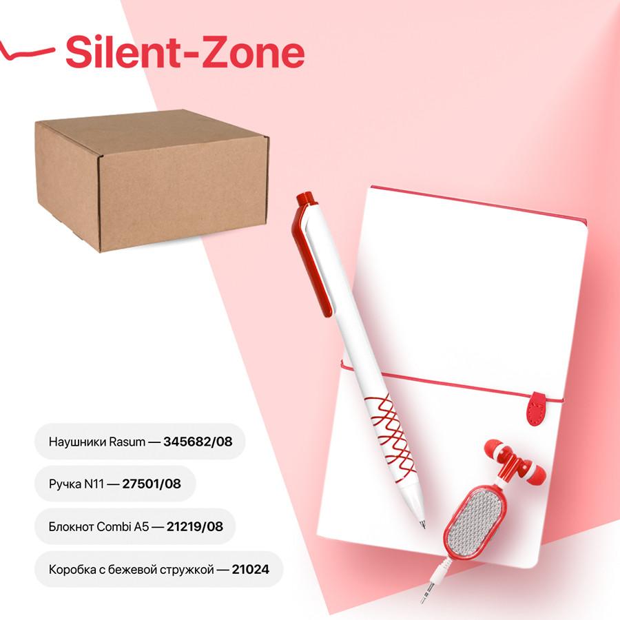 Набор подарочный SILENT-ZONE: бизнес-блокнот, ручка, наушники, коробка, стружка, бело-красный
