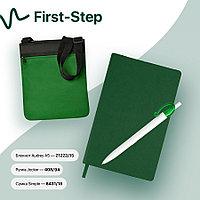 Набор подарочный FIRST-STEP: бизнес-блокнот, ручка, сумка, зеленый