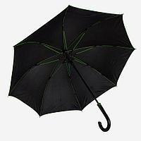 """Зонт-трость """"Back to black"""", полуавтомат, нейлон, черный с зеленым, фото 1"""