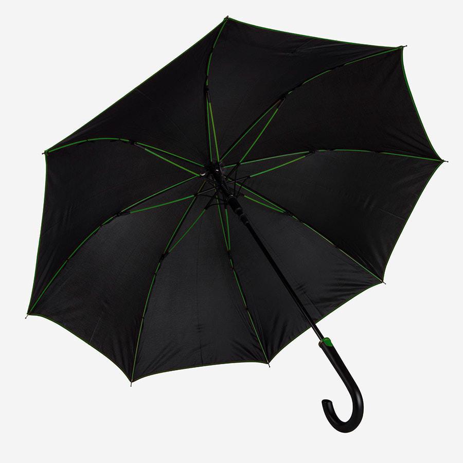 """Зонт-трость """"Back to black"""", полуавтомат, нейлон, черный с зеленым"""
