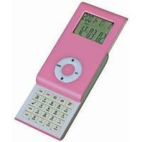 Калькулятор раздвижной с календарем и часами; розовый; 9,6х5х1,4 см; пластик