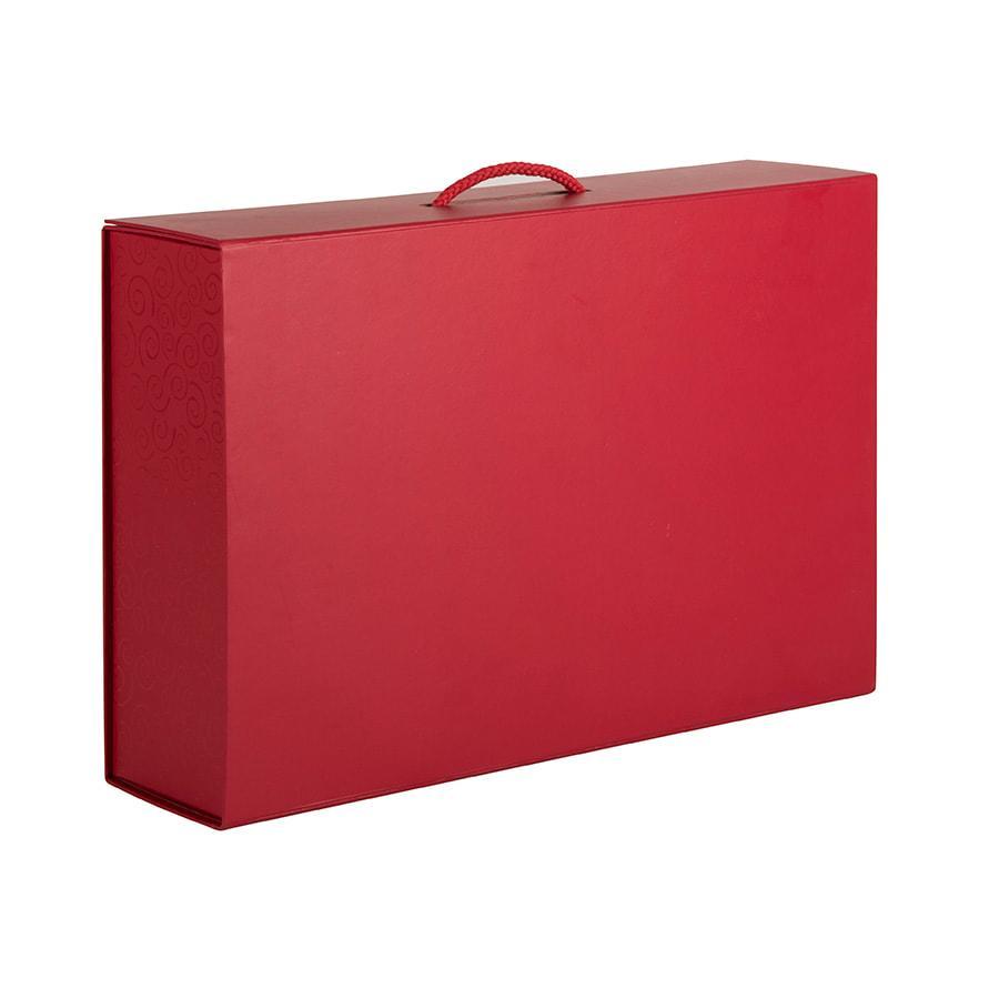 Коробка складная подарочная с ручкой, красный, 37x25 x10cm, кашированный картон, тисн, шелкогр. - фото 1