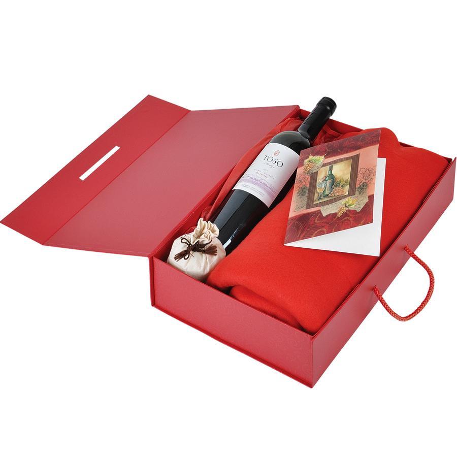 Коробка складная подарочная с ручкой, красный, 37x25 x10cm, кашированный картон, тисн, шелкогр. - фото 3