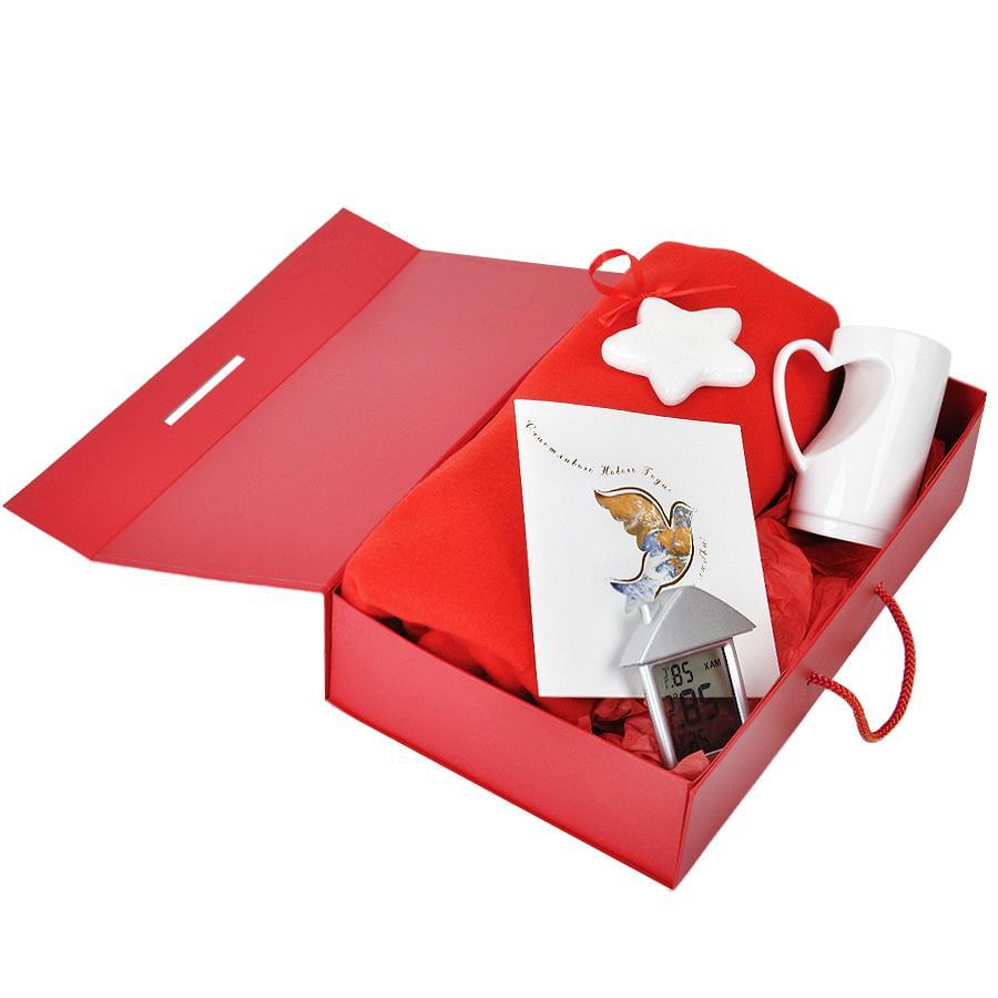 Коробка складная подарочная с ручкой, красный, 37x25 x10cm, кашированный картон, тисн, шелкогр. - фото 6