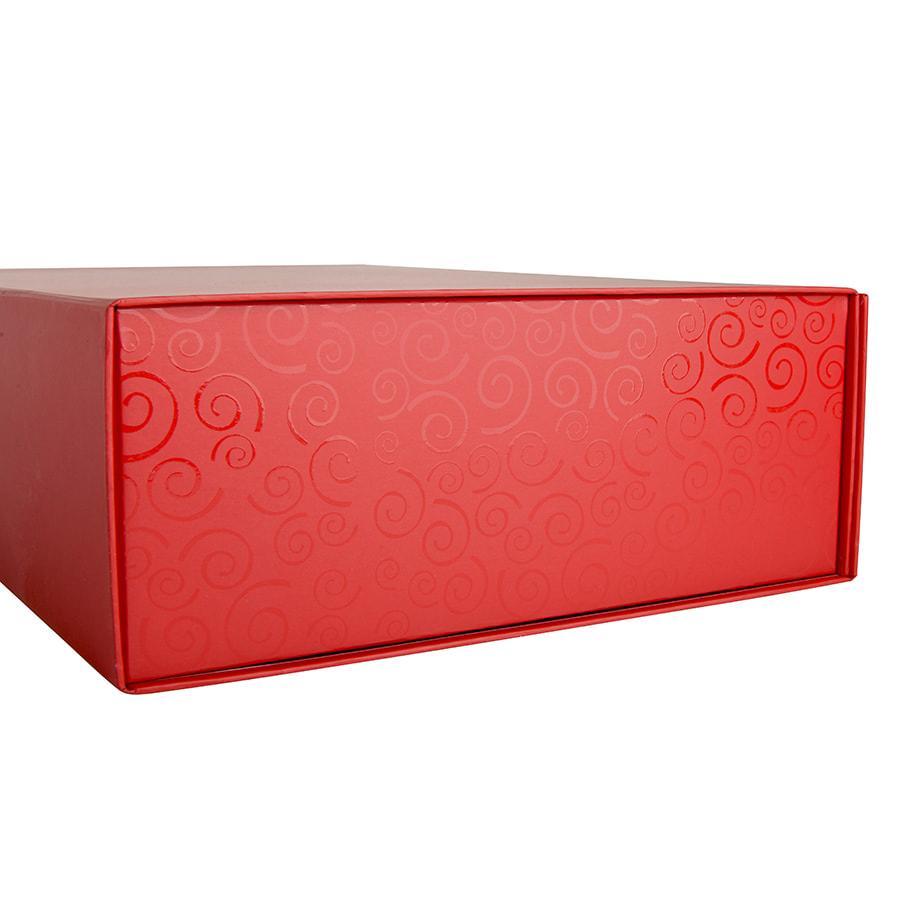 Коробка складная подарочная с ручкой, красный, 37x25 x10cm, кашированный картон, тисн, шелкогр. - фото 7