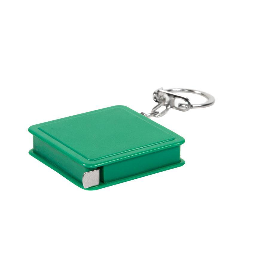 Брелок-рулетка (1 м); зеленый; 4х4х1 см; пластик