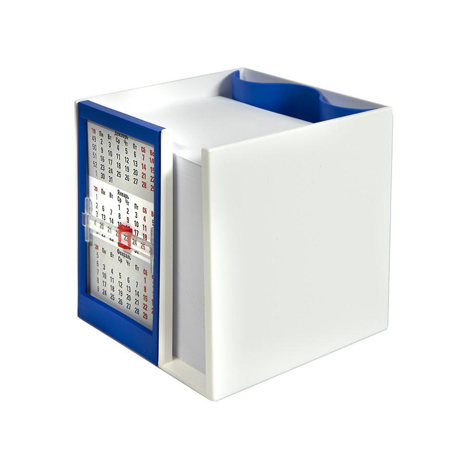 Календарь настольный  на 2 года с кубариком; белый с синим; 11х10х10 см; пластик