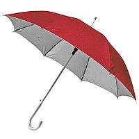 """Зонт-трость с пластиковой ручкой """"под алюминий"""" """"Silver"""", полуавтомат; красный с серебром; D=103 cм"""