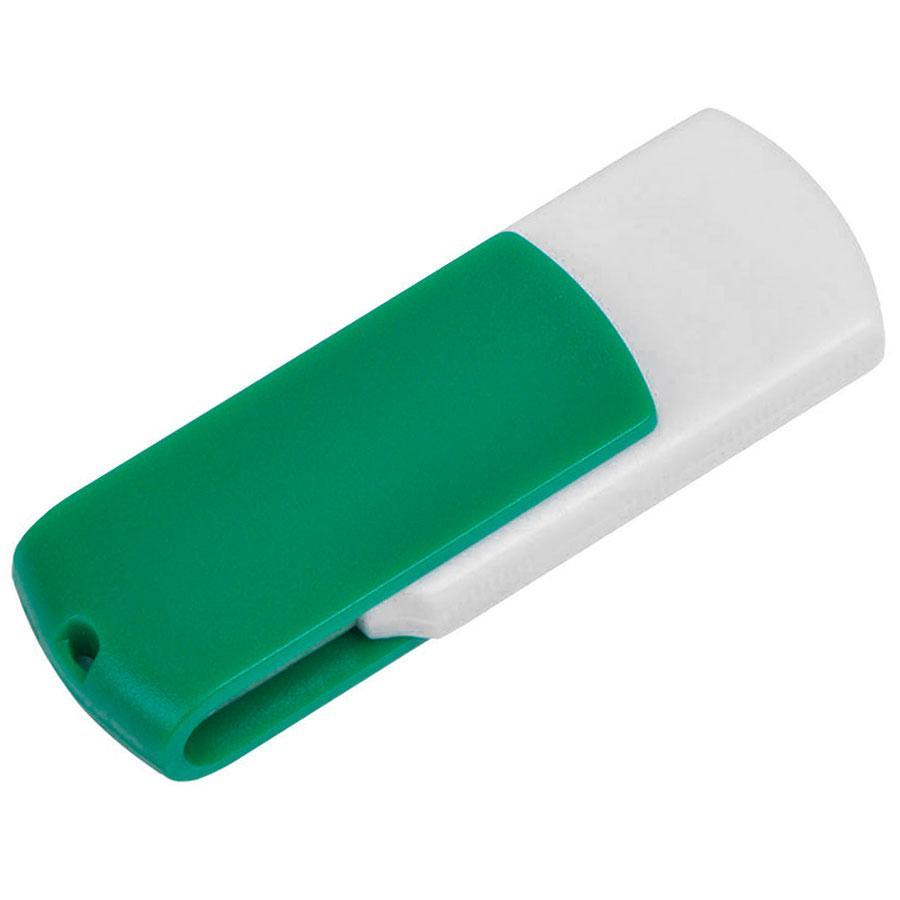 "USB flash-карта ""Easy"" (8Гб),белая с зеленым, 5,7х1,9х1см,пластик"