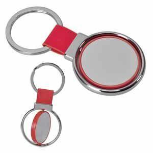 """Брелок """"Круг вращения """" красный; 8х4 см; металл, искусственная кожа, пластик"""