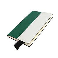 Бизнес-блокнот UNI, A5, бело-зеленый, мягкая обложка, в линейку, черное ляссе