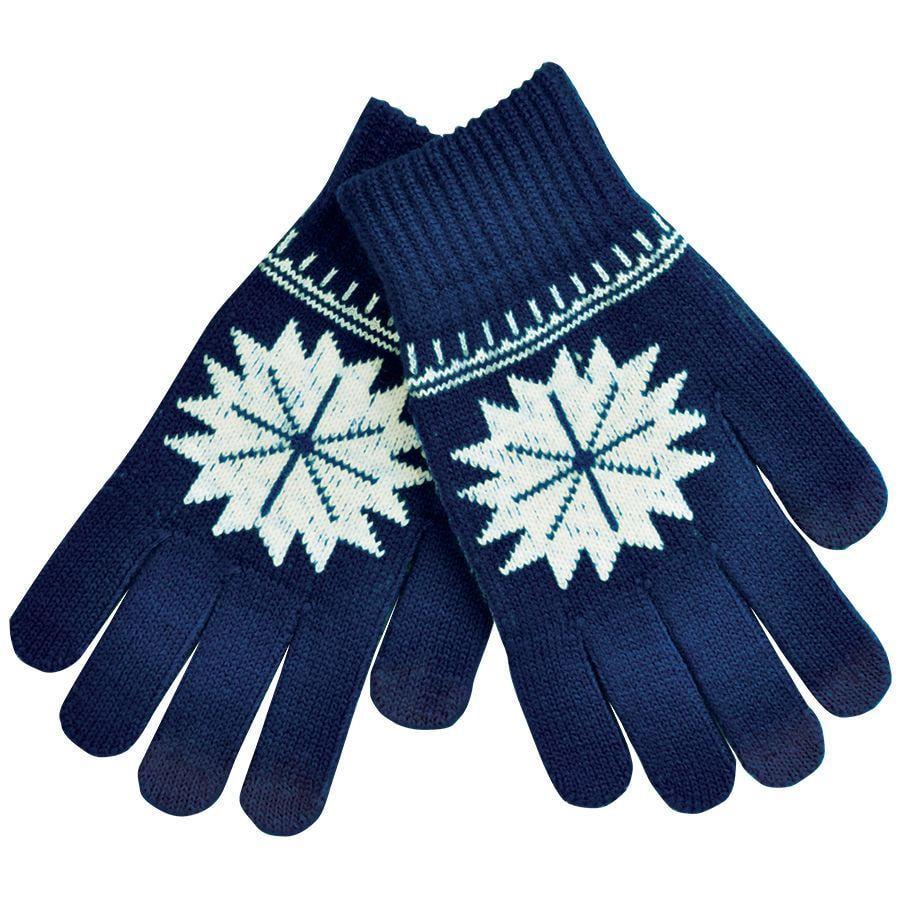 """Перчатки для сенсорных экранов """"СНЕЖИНКА"""", темно-синий, М, 100% акрил"""