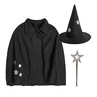 """Костюм карнавальный """"Волшебник""""для корпоративных мероприятий, в мешке, черный, флис, мешок 25*30 см"""