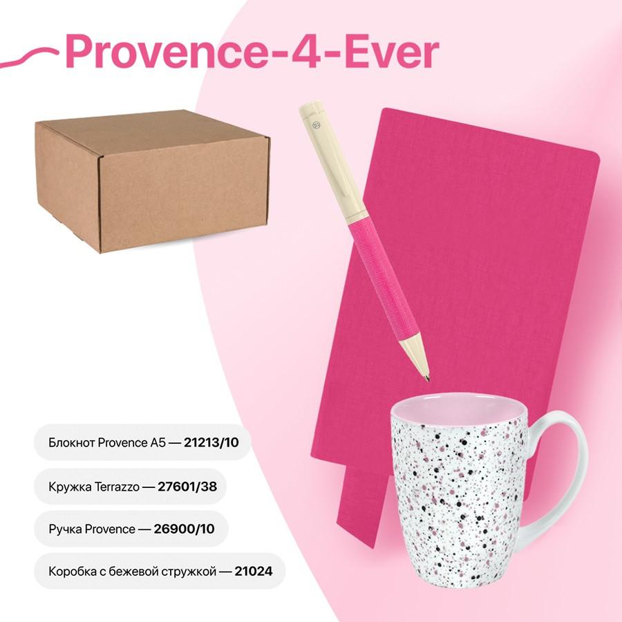 Набор подарочный PROVENCE-4-EVER: бизнес-блокнот, ручка, кружка, коробка, стружка, розовый