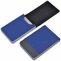 """Визитница """"Вертикаль""""; синий; 9,5х6,4х1,7 см; иск. кожа, металл"""