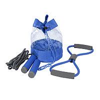 Набор SPORT UP, эспандер, скакалка, сумка, синий, полиуретан