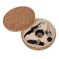 """Набор для вина """"Cork"""" (4 предмета); 15х4см; искусственная кожа, металл; лазерная гравировка, фото 1"""
