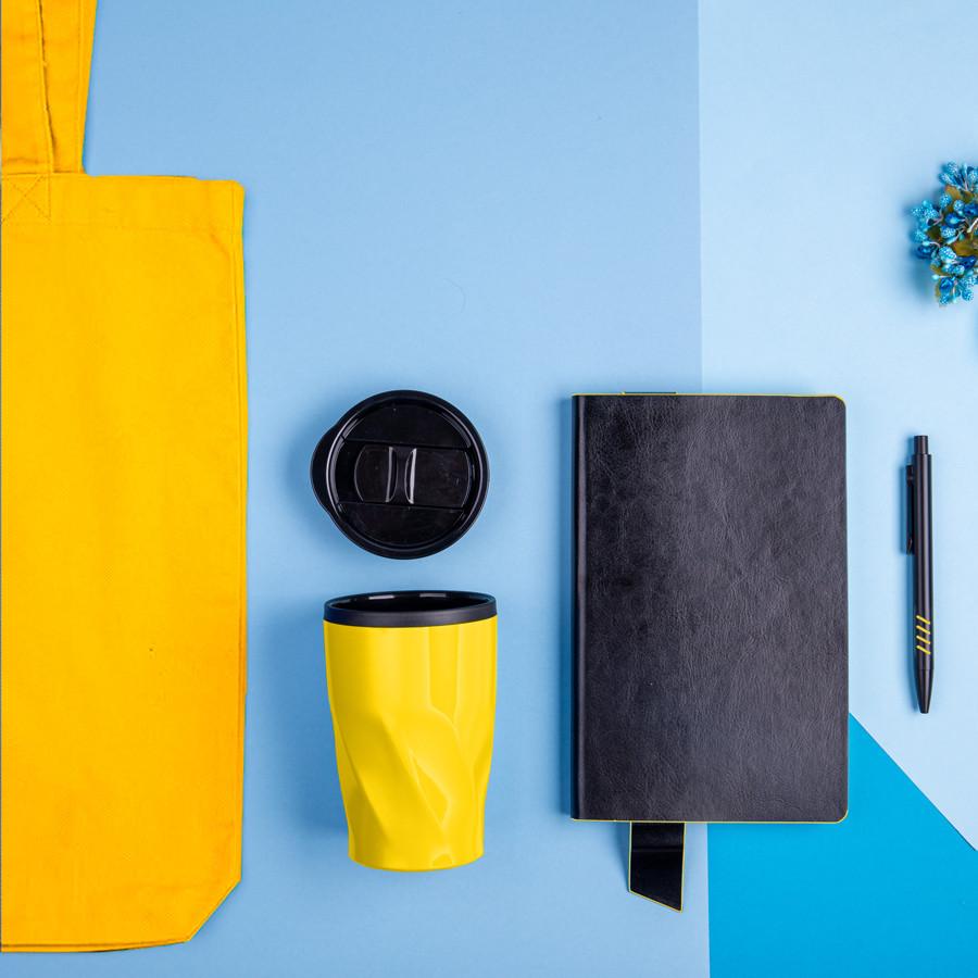 Набор подарочный VIBES4HIM: бизнес-блокнот, ручка, термокружка, сумка, черно-желтый