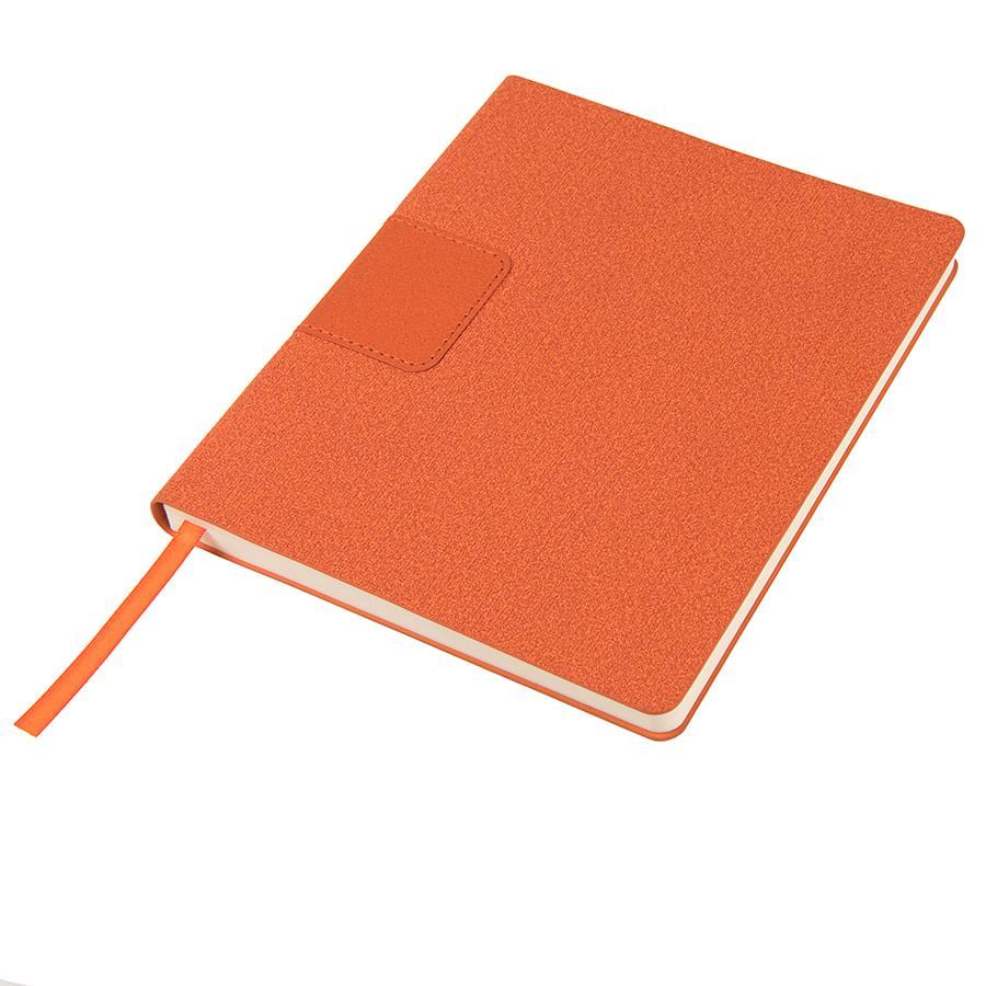 """Бизнес-блокнот """"Tweedi"""", 150х180 мм, оранжевый, кремовая бумага, гибкая обложка, в линейку"""