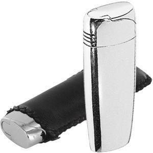 Зажигалка в чехле; 2,5х1,3х6,5 см; металл, чехол: искусственная кожа. Зажигалка поставляется без газа.