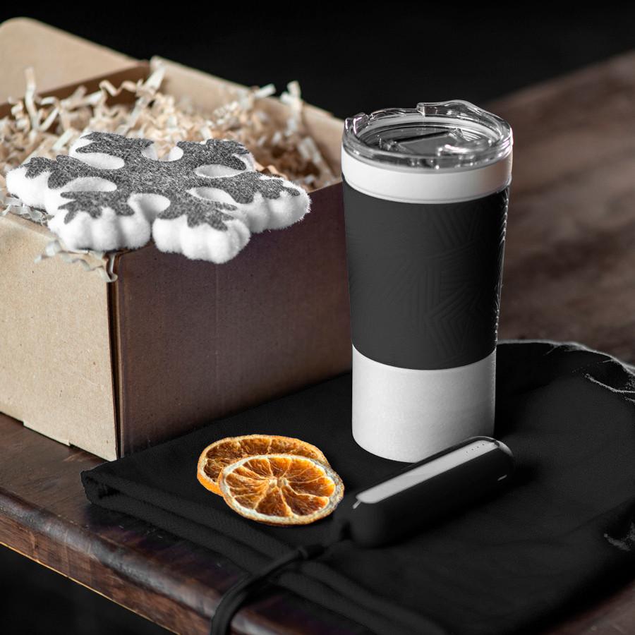 Набор ACTIONLIFE: термокружка, шапка, украшение, зарядное устройство, коробка, черный