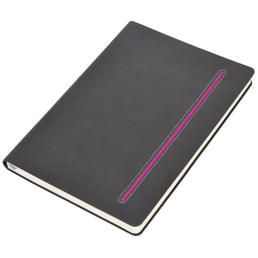 """Бизнес-блокнот А5  """"Elegance"""", серый  с розовой вставкой, мягкая обложка,  в клетку"""