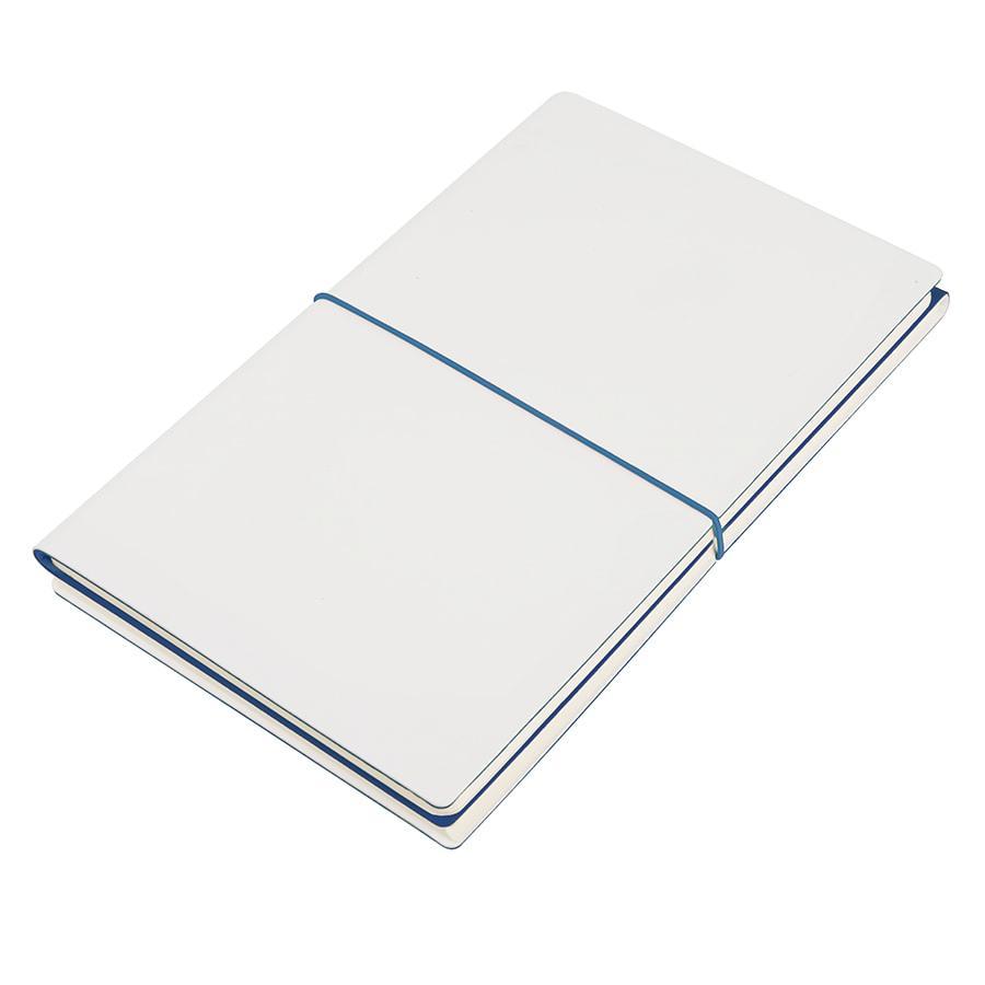 """Бизнес-блокнот """"Combi"""", 130*210 мм, бело-тем-синий, кремовый форзац, гибкая обложка, в клетку/нелинованный"""